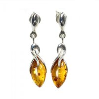 Amber Marquise Sterling Silver Earrings
