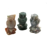 Assorted Gemstone Owl Carving - various available
