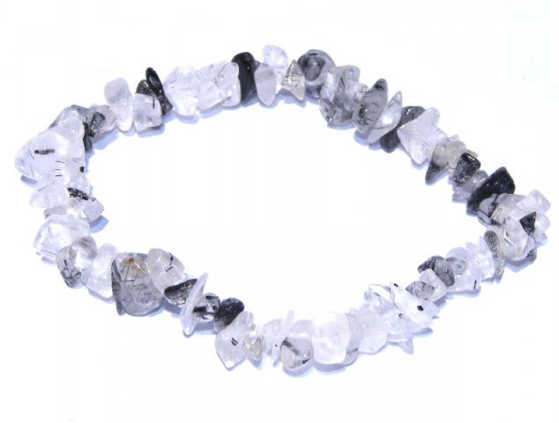 Black Rutilated Quartz Chip Bracelet