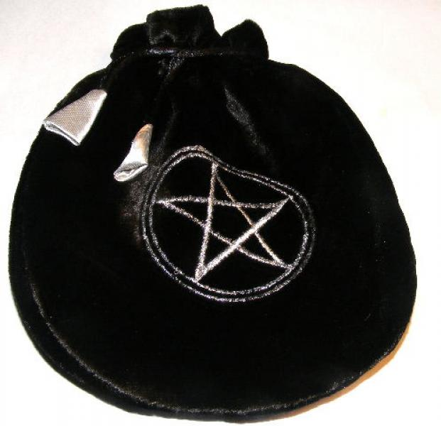 Black Pentacle Tarot Bag Drawstring Pouch
