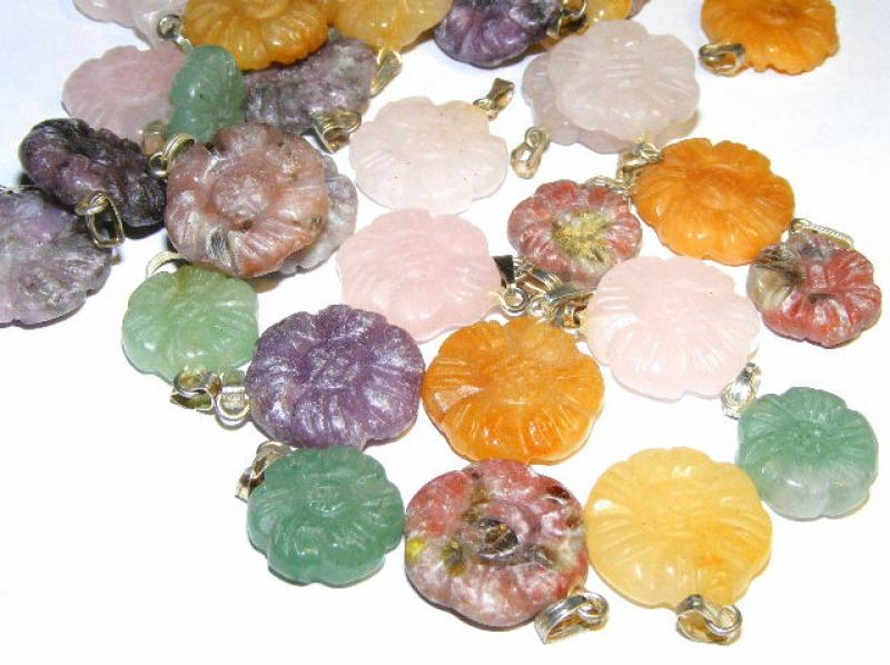 Gemstone Flower Pendant