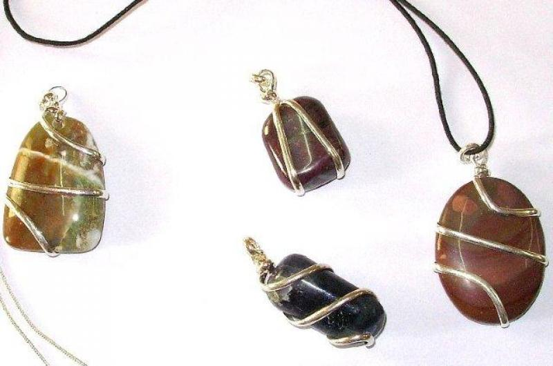 Lucky Dip Gemstone Crystal Coil Wrapped Pendant