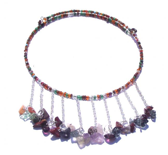 Multi Coloured Gemstone Choker Design Necklace